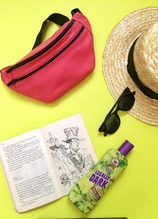 Яркая летняя сумка на пояс,бананка из натуральной кожи.женская розовая сумка.тренд 2017.