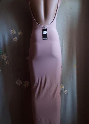 Брендовое вечернее платье в пол нюд  пыльный розовый пудровый беж открытая спина полная распродажа