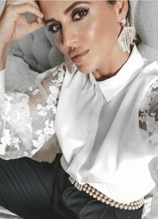 Невероятная блуза блузка рубашка с пышными рукавами из органзы zara