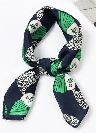 Крачивый платок на шею шарфик искусственный шелк бант повязка на голову хустка