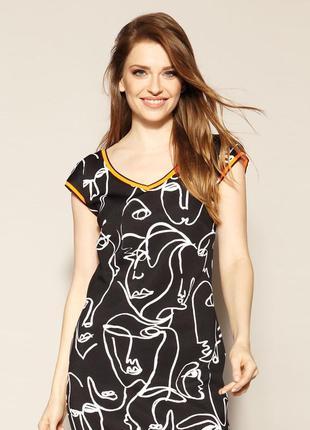Платье до колена трикотаж эластичное короткий рукав весеннее летнее zaps austin 004 черное2 фото