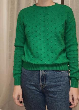Зеленый свитер шерсть, ангора