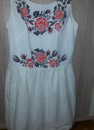Льняное платье вышиванка  nenka m