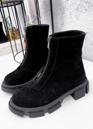 Ботинки женские демисезонные amy черные, замша