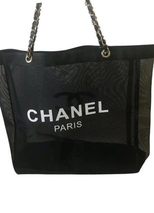 Двухстороння пляжная сумка в стиле шанель chanel4 фото