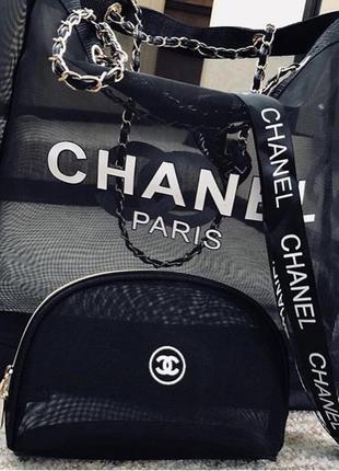 Двухстороння пляжная сумка в стиле шанель chanel7 фото