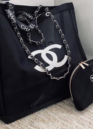 Двухстороння пляжная сумка в стиле шанель chanel