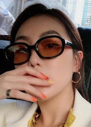 Качественные овальные очки большие черные коричневые имиджевые ретро винтаж окуляри1 фото