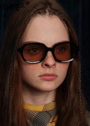Качественные овальные очки большие черные коричневые имиджевые ретро винтаж окуляри2 фото