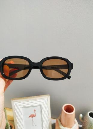 Качественные овальные очки большие черные коричневые имиджевые ретро винтаж окуляри3 фото