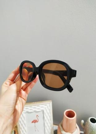 Качественные овальные очки большие черные коричневые имиджевые ретро винтаж окуляри4 фото