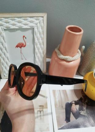 Качественные овальные очки большие черные коричневые имиджевые ретро винтаж окуляри5 фото