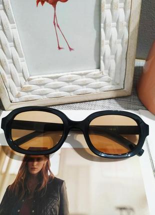 Качественные овальные очки большие черные коричневые имиджевые ретро винтаж окуляри6 фото