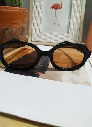 Качественные овальные очки большие черные коричневые имиджевые ретро винтаж окуляри7 фото