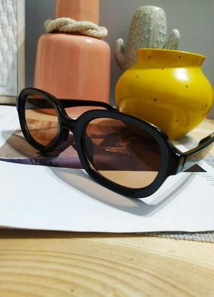 Качественные овальные очки большие черные коричневые имиджевые ретро винтаж окуляри8 фото