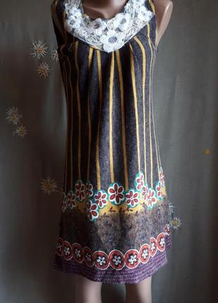 Романтичное теплое уютное платье с кружевной отделкой./ обмен/ распродажа/