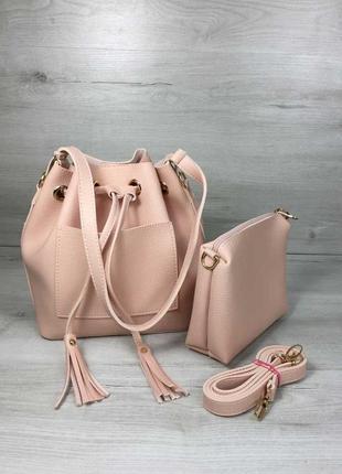 Стильная сумка мешок 2 в 1,шоппер ,кросс боди пудра ,акция🔥🔥🔥последняя