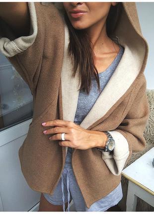 Необычное бежевое шерстяное пальто - кейп с капюшоном от zara