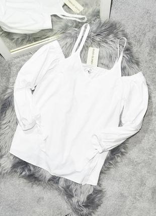 Новая белая рубашка с открытыми плечами river island