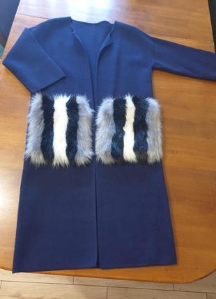 Пальто кардиган трикотажное без пуговиц