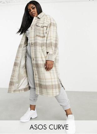 Пальто рубашка в клетку тёплое, демисезонная куртка-рубашка удлиненная оверсайз asos батал