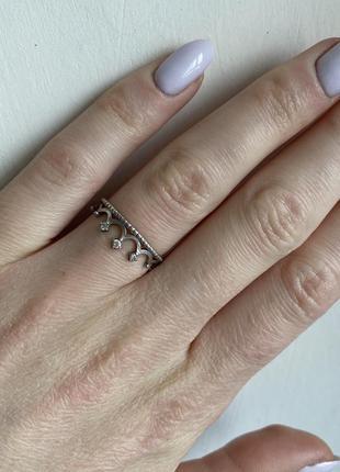 Срібне кольцо каблучка корона