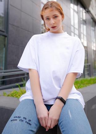 Широкая хлопковая футболка оверсайз белого цвета without