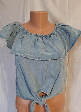 Джинсовый топ голубая блуза спущенные плечи лиоцел