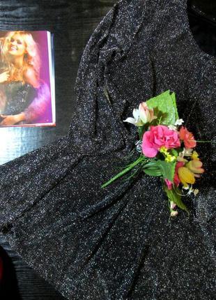 Стильное черное платье -туника с блеском,,серебро,люрекс,свободный крой!