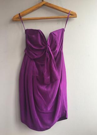 Asos шелковое платье сливового цвета