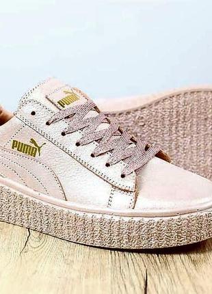 Оригинальные голограммные кожаные кроссовки/криперсы puma by rihanna pearl powdery.
