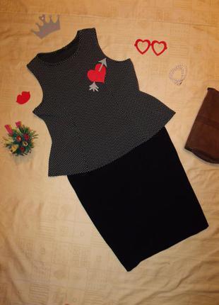 Фактурная блуза с баской расклешенная к низу+юбка в подарок