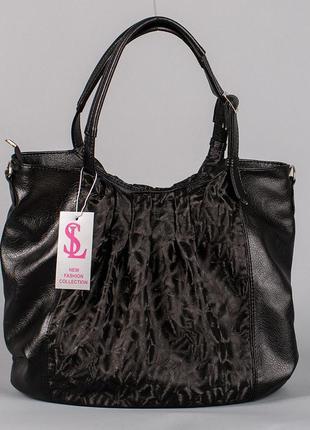 Сумка шоппер черная женская большая фигурная на плечо