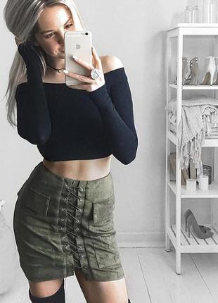 Замшевая юбка на шнуровке 2017