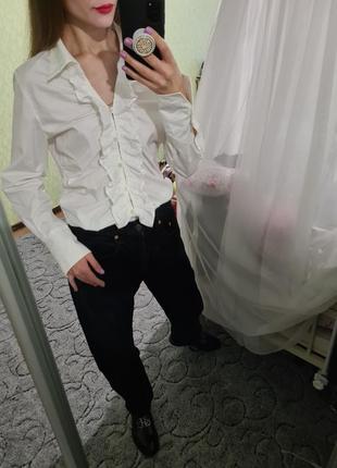 Шикарная белая, біла хлопковая рубашка, сорочка оверсайз с рюшей