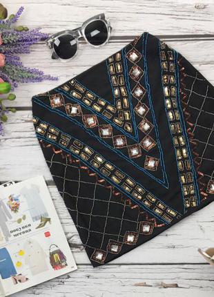 Оригинальная мини юбка со стразами и бисерной вышивкой  ki3088