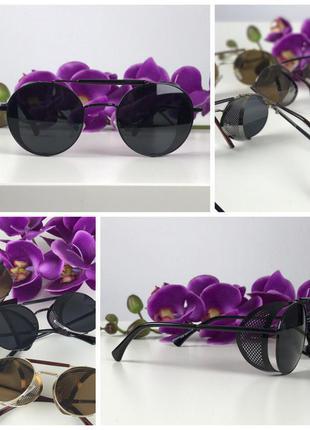 Стильные очки-тишейды с оригинальным декором (черная линза)