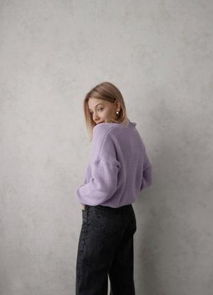 Кардиган лиловый сиреневый оверсайз объемный oversize ліловий шенилловый фиолетовый