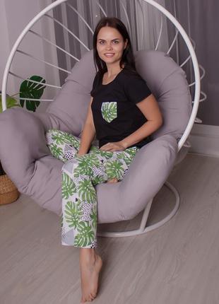 Хлопковая натуральная пижама зелень