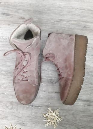 Ботинки замш черевики зимові tamaris