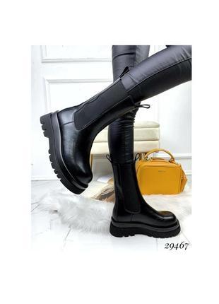 Ботинки боты деми чёрные эко кожа высокие на резинке челси