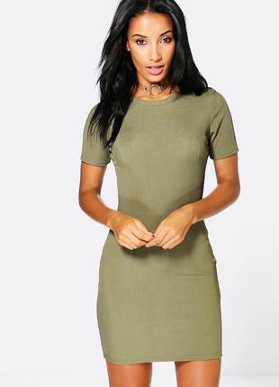 Базовое платье-футляр в рубчик boohoo