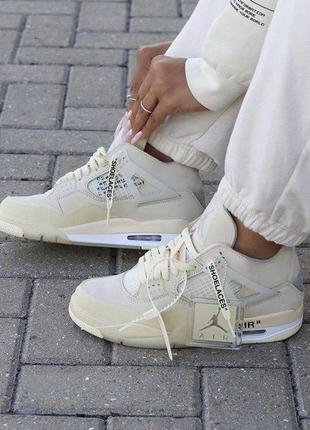 Женские off-white x nike air jordan 4 sp 'sail'