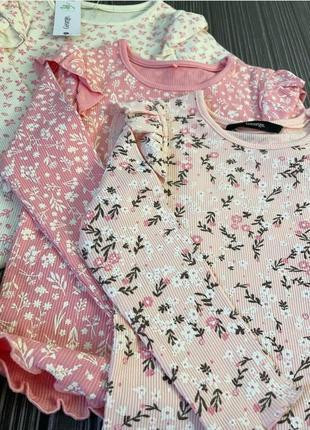 Красивый набор регланов для девочки 3 шт. george великобритания цветочный принт