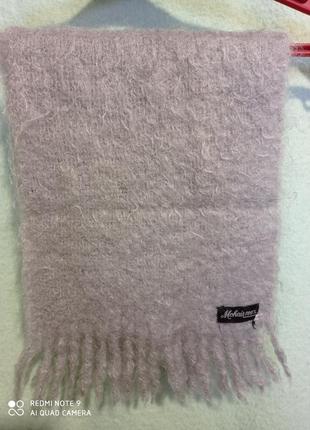Базовый нейтральный светло-серый шарф мохер 💯