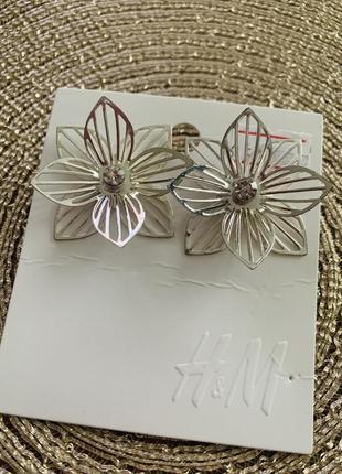Серьги серебряные цветы h&m