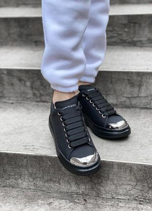 Кроссовки кожаные чёрные демисезон