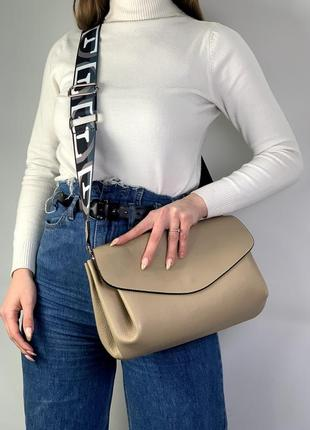 Женская кожаная сумочка па плечо virginia conti таупе