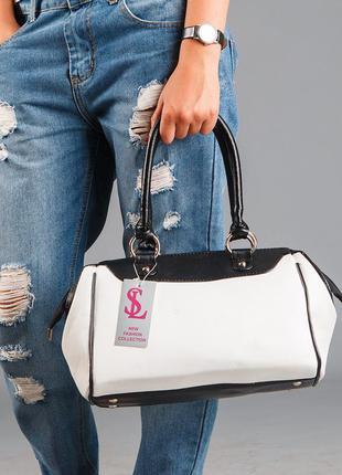 Белая дамская сумка саквояж с черными вставками