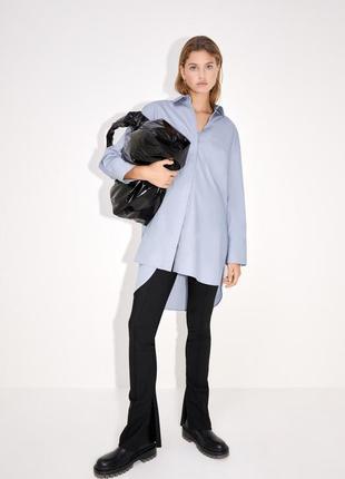 Довга попелінова сорочка / длинная хлопковая рубашка оверсайз из поплина zara